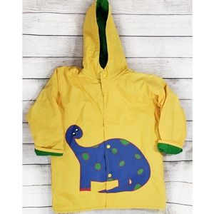 Driplets Kid's Yellow Hooded Dinosaur Raincoat